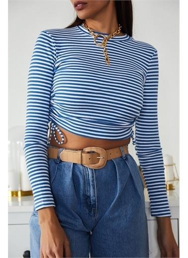 XHAN Mavi Büzgülü Çizgili Bluz 1Kxk2-44717-12 Mavi